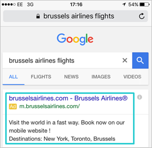 Example of a mobile tailored ad