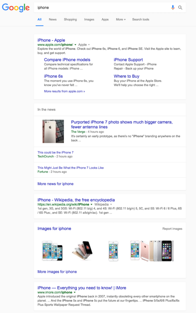 Image of a Google search results page that is arranged into individual cards of information about the iPhone.