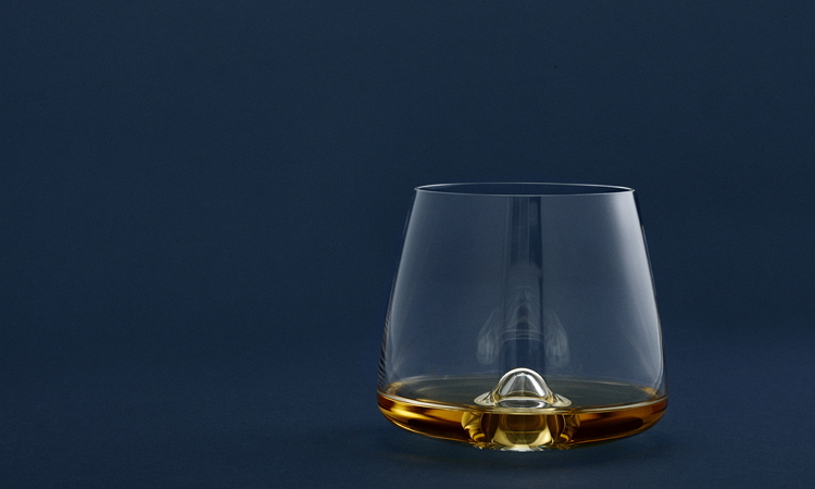 whisky glass with bubble