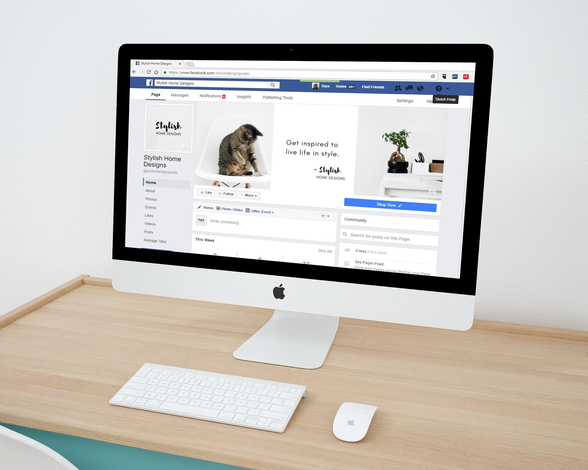 facebook on computer screen