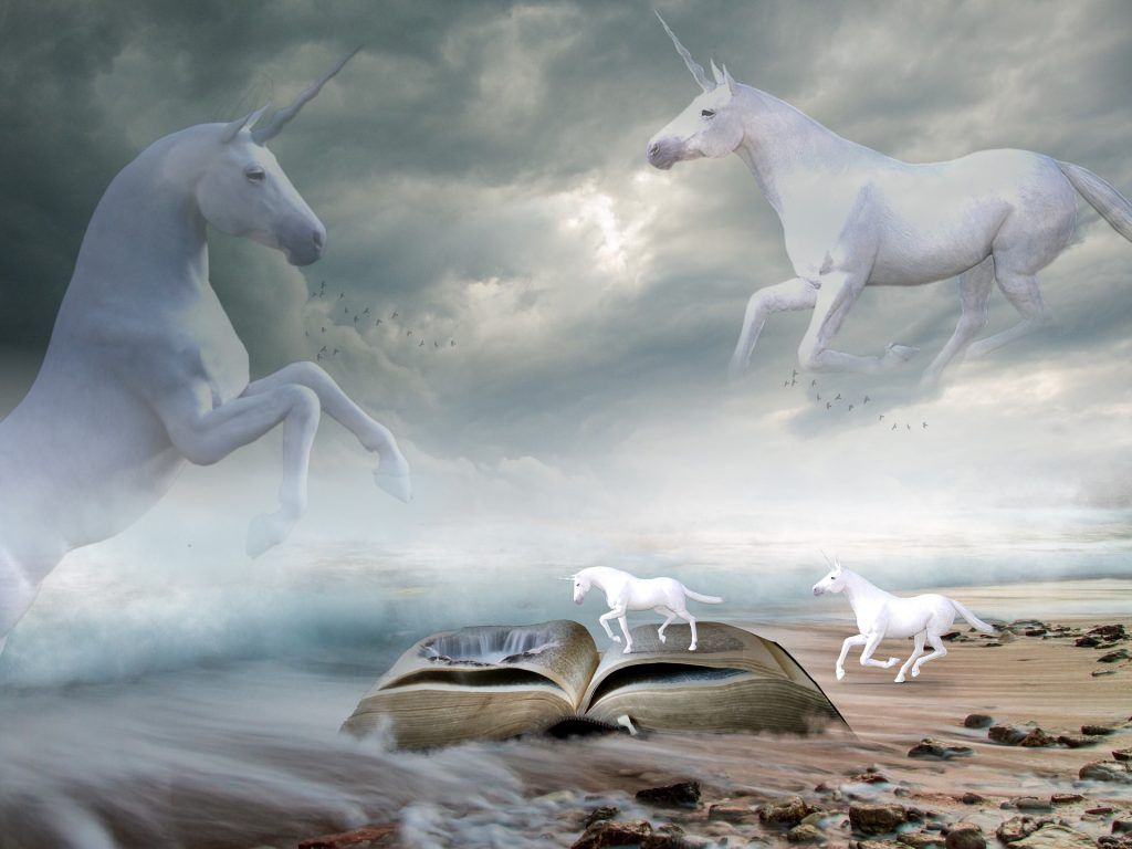 unicorns on a beach