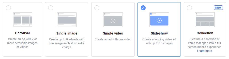 facebook ads best practice ad types