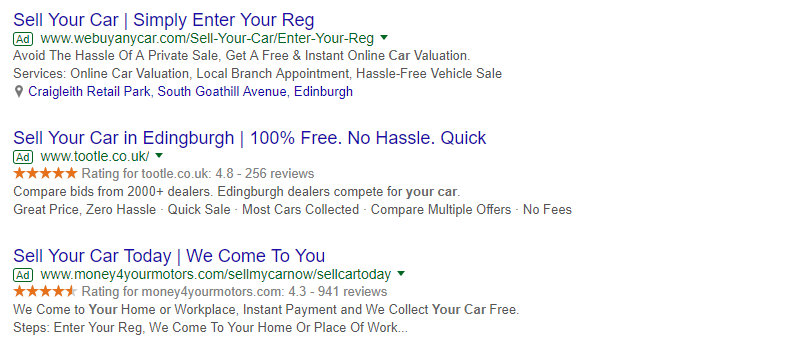 ppc ad copy sell your car