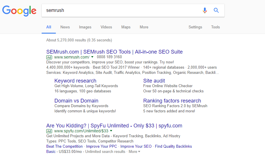 ppc ad copy semrush spyfu
