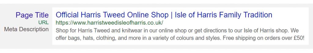 Harris Tweed Optimised SERP