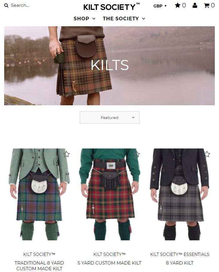 Kilt Society Category Page