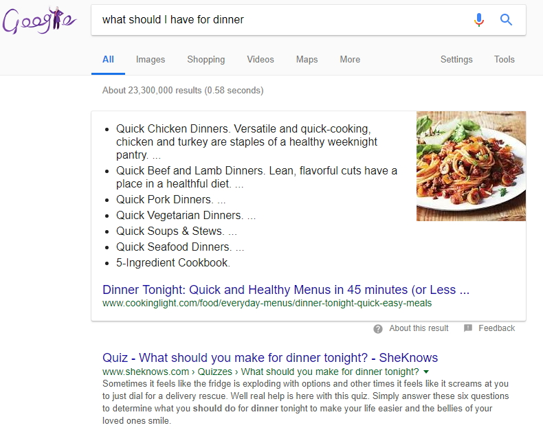 What Should I Have For Dinner SERP