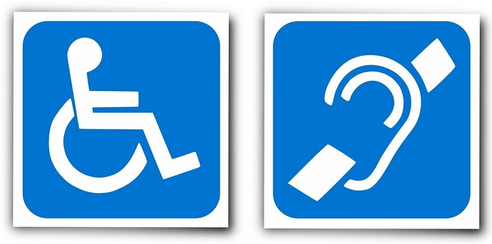 disabled and hearing aid logos