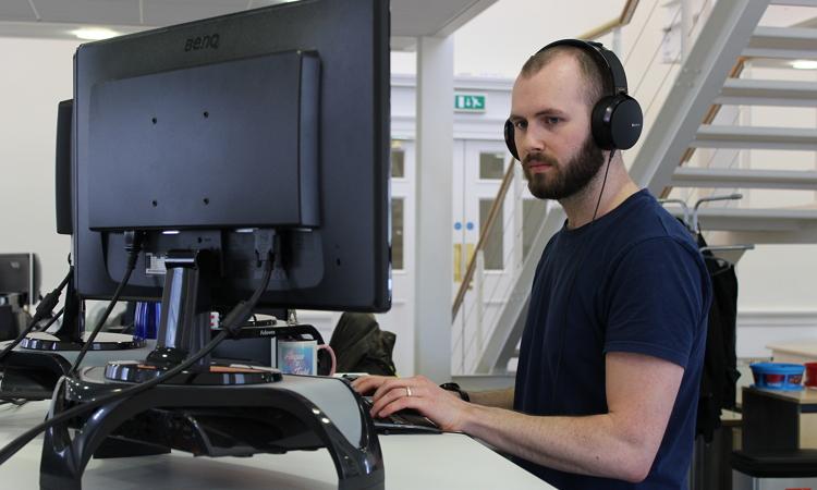Angus at computer