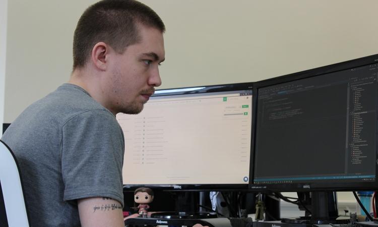 Owen at computer
