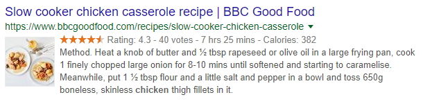 Chicken casserole recipe snippet