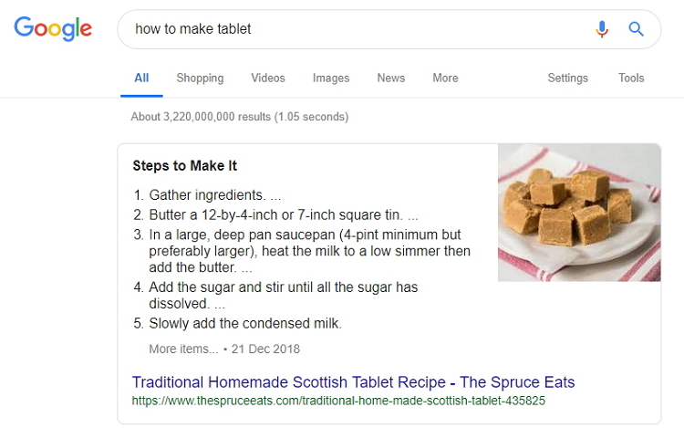 Tablet Featured Snippet