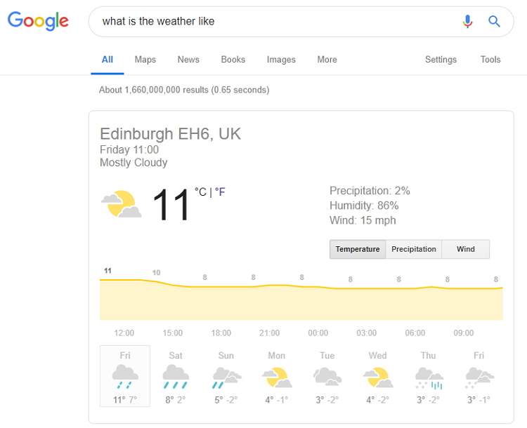 Weather Featured Snippet