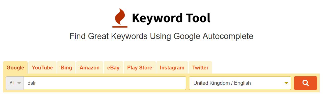 keyword tool results 1