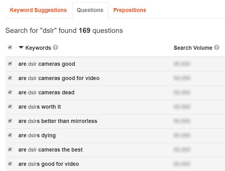 keyword tool results 2