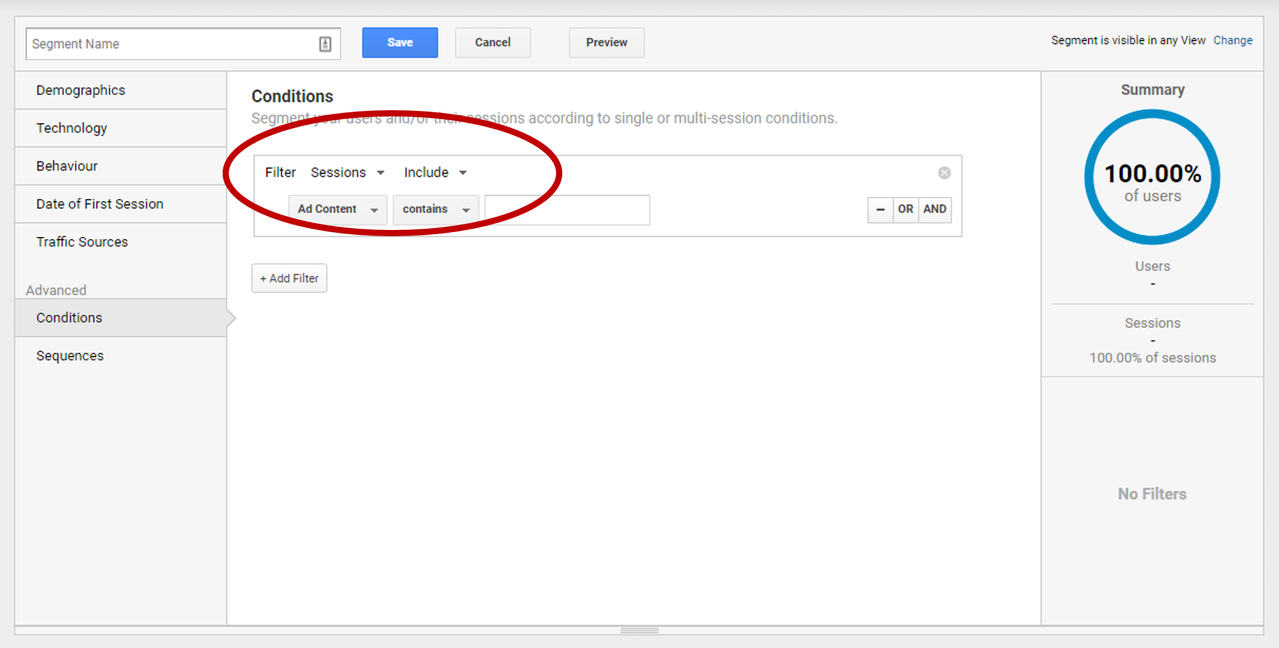 Step 4 - Set Filter to sessions and type to 'exclude'