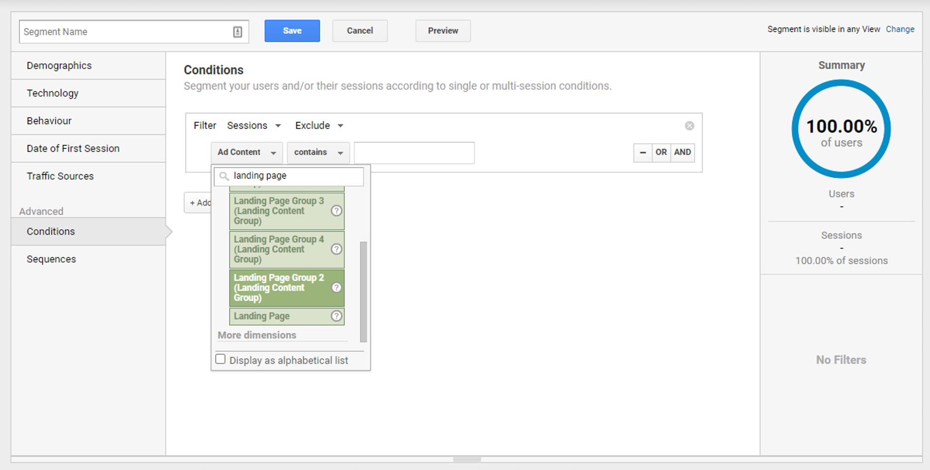 Step 5 - Select the dimension to filter traffic on